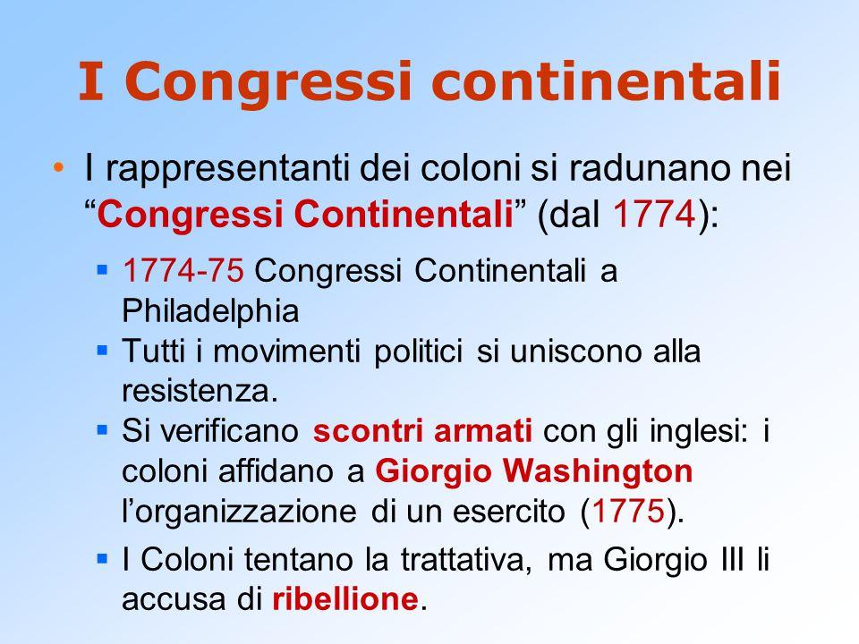 I Congressi continentali I rappresentanti dei coloni si radunano nei Congressi Continentali (dal 1774):  1774-75 Congressi Continentali a Philadelphia  Tutti i movimenti politici si uniscono alla resistenza.