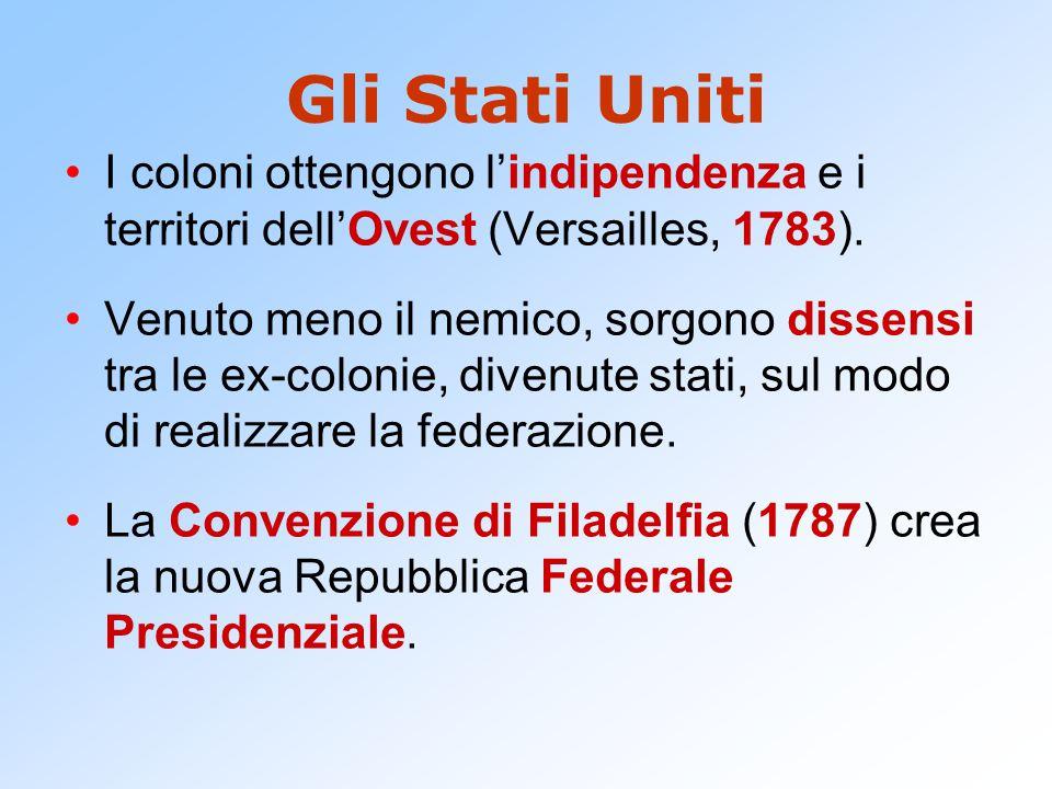 Gli Stati Uniti I coloni ottengono l'indipendenza e i territori dell'Ovest (Versailles, 1783). Venuto meno il nemico, sorgono dissensi tra le ex-colon