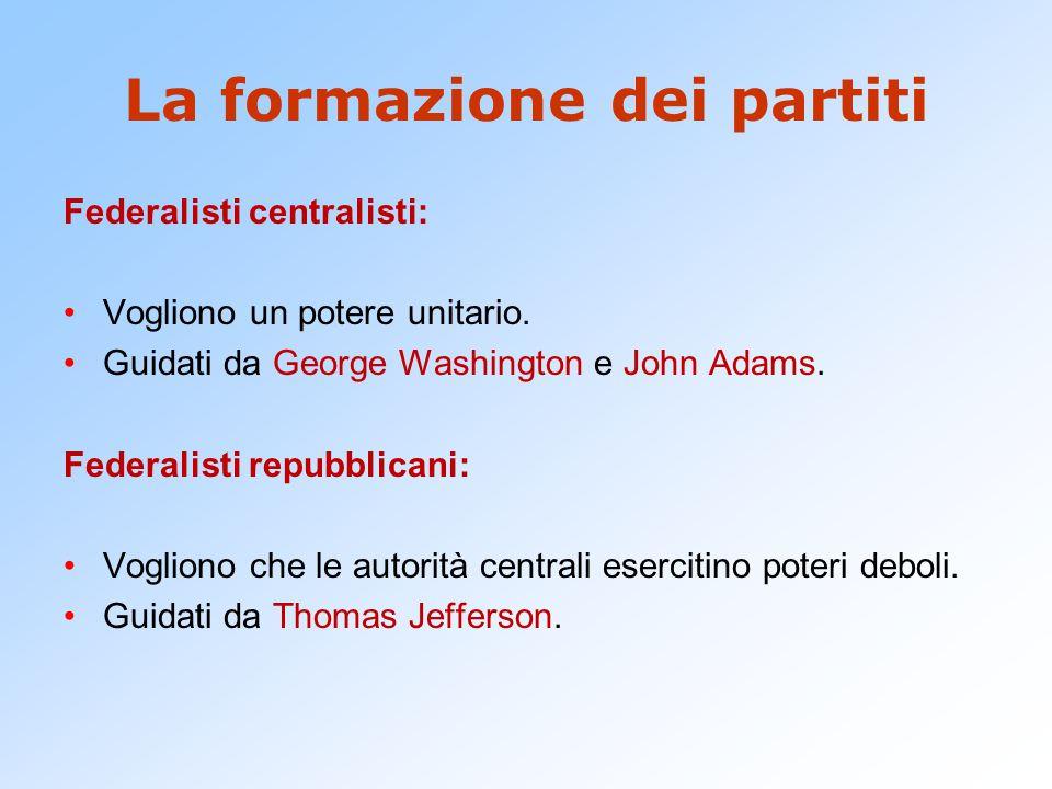 La formazione dei partiti Federalisti centralisti: Vogliono un potere unitario. Guidati da George Washington e John Adams. Federalisti repubblicani: V