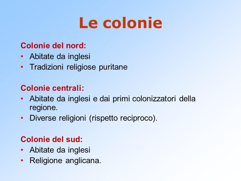 Le colonie Colonie del nord: Abitate da inglesi Tradizioni religiose puritane Colonie centrali: Abitate da inglesi e dai primi colonizzatori della regione.