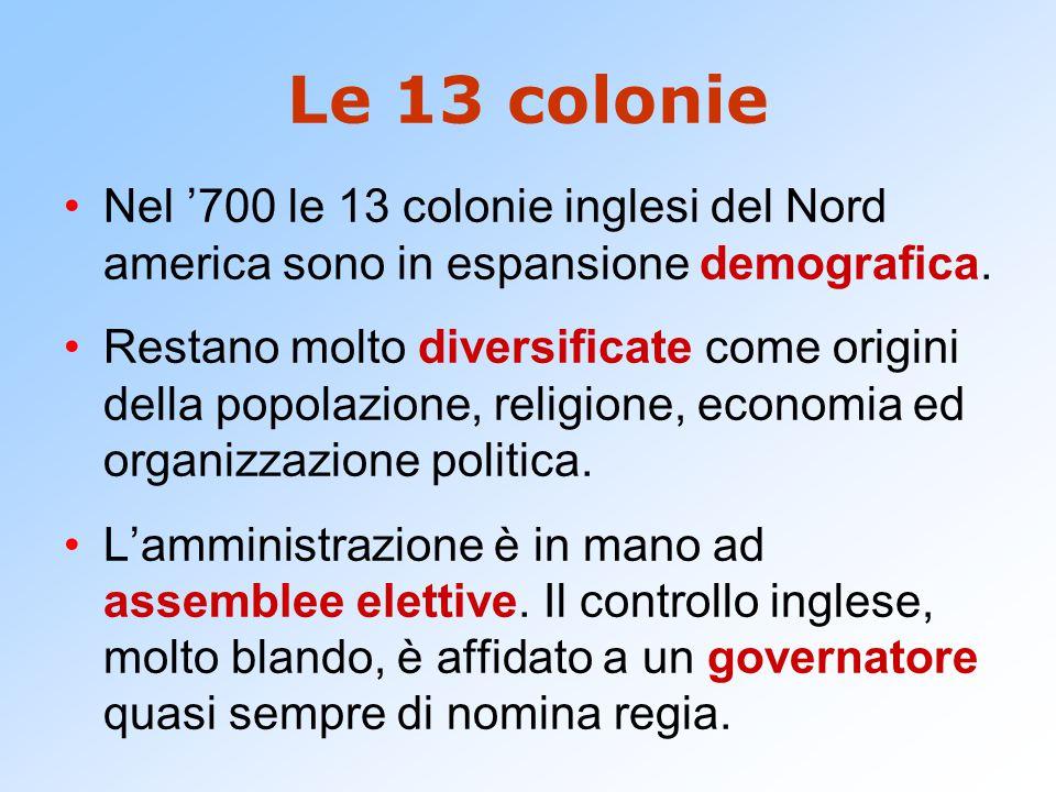 Le 13 colonie Nel '700 le 13 colonie inglesi del Nord america sono in espansione demografica. Restano molto diversificate come origini della popolazio