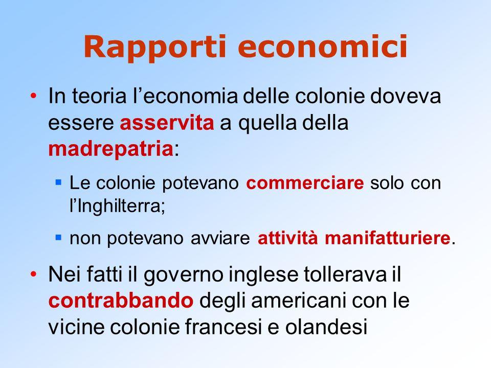 Rapporti economici In teoria l'economia delle colonie doveva essere asservita a quella della madrepatria:  Le colonie potevano commerciare solo con l'Inghilterra;  non potevano avviare attività manifatturiere.