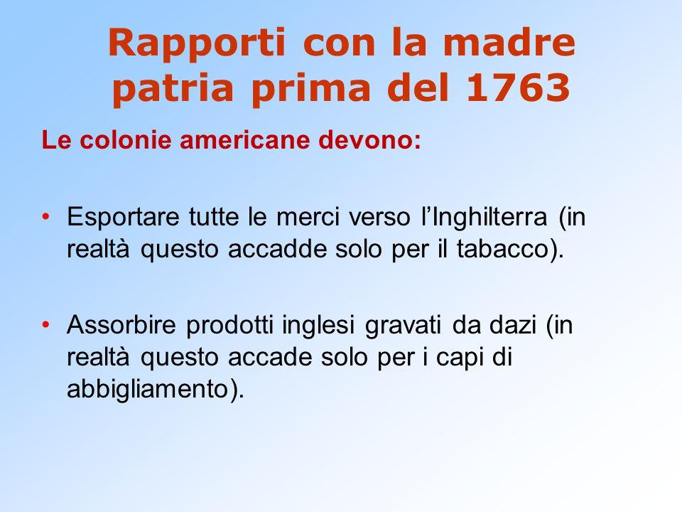 Rapporti con la madre patria prima del 1763 Le colonie americane devono: Esportare tutte le merci verso l'Inghilterra (in realtà questo accadde solo p