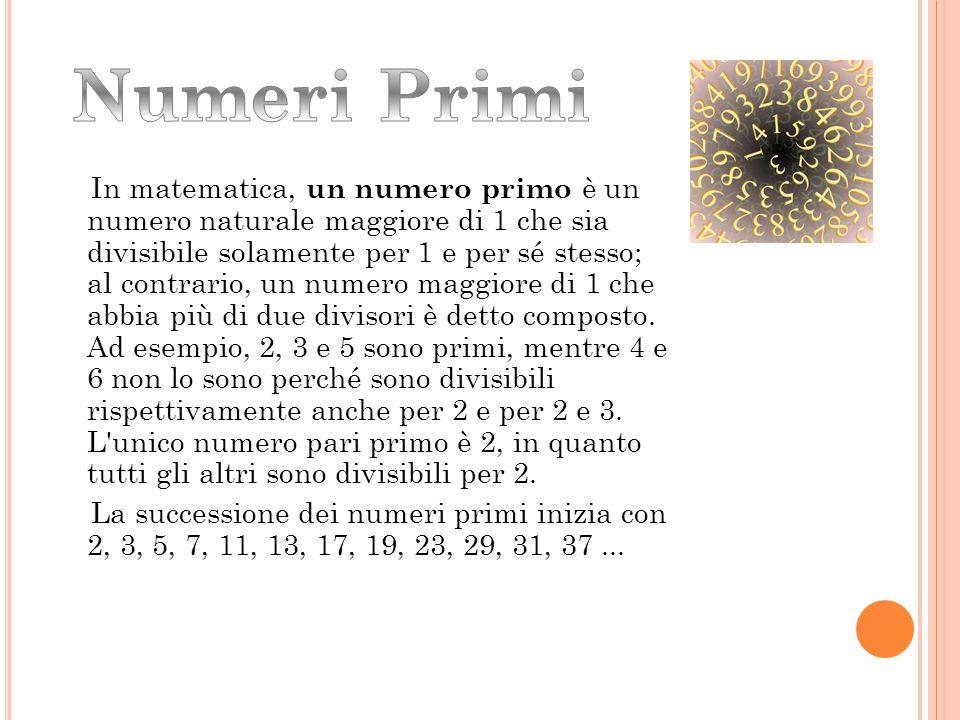 In matematica, un numero primo è un numero naturale maggiore di 1 che sia divisibile solamente per 1 e per sé stesso; al contrario, un numero maggiore