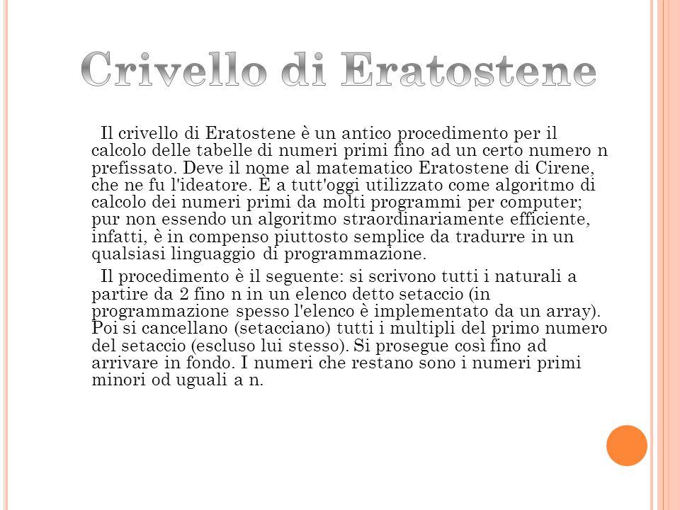 Il crivello di Eratostene è un antico procedimento per il calcolo delle tabelle di numeri primi fino ad un certo numero n prefissato. Deve il nome al