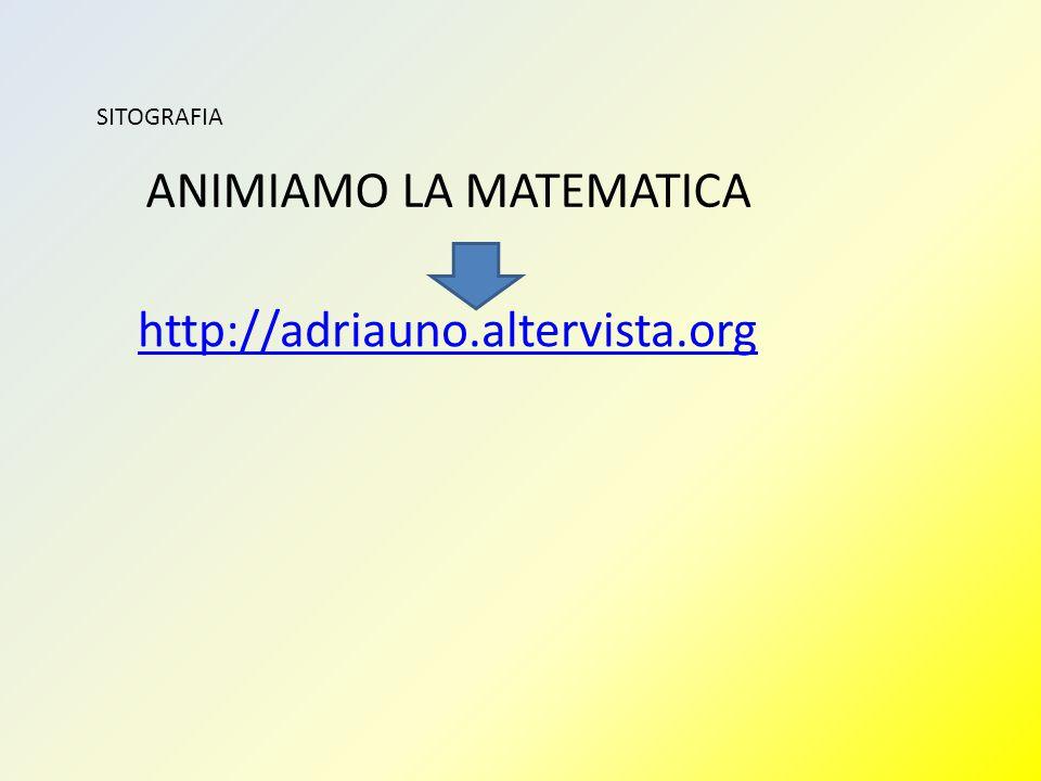 SITOGRAFIA http://adriauno.altervista.org ANIMIAMO LA MATEMATICA