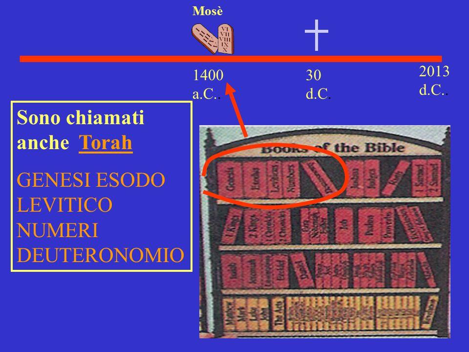 30 d.C. 2013 d.C.. 1400 a.C.. Mosè Sono chiamati anche Torah GENESI ESODO LEVITICO NUMERI DEUTERONOMIO