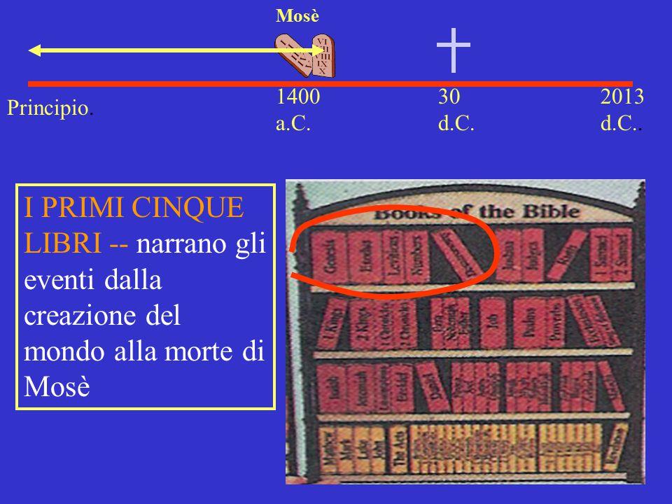 30 d.C. 2013 d.C.. 1400 a.C. Mosè I PRIMI CINQUE LIBRI -- narrano gli eventi dalla creazione del mondo alla morte di Mosè Principio.