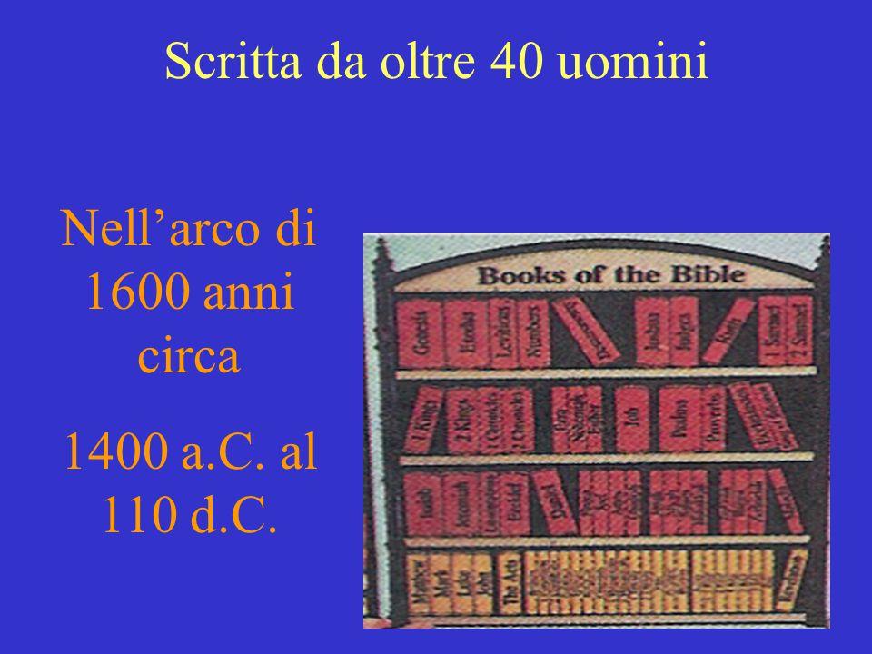 Scritta da oltre 40 uomini Nell'arco di 1600 anni circa 1400 a.C. al 110 d.C.