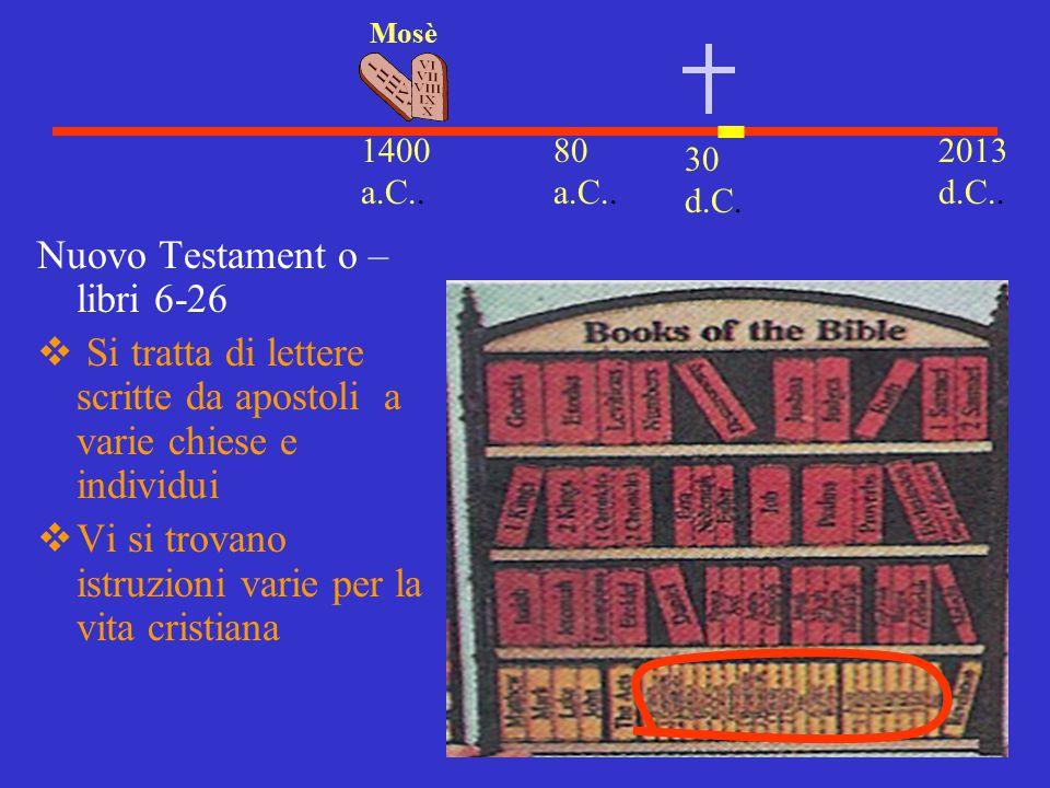 30 d.C. 2013 d.C.. 1400 a.C.. Mosè 80 a.C.. Nuovo Testament o – libri 6-26  Si tratta di lettere scritte da apostoli a varie chiese e individui  Vi