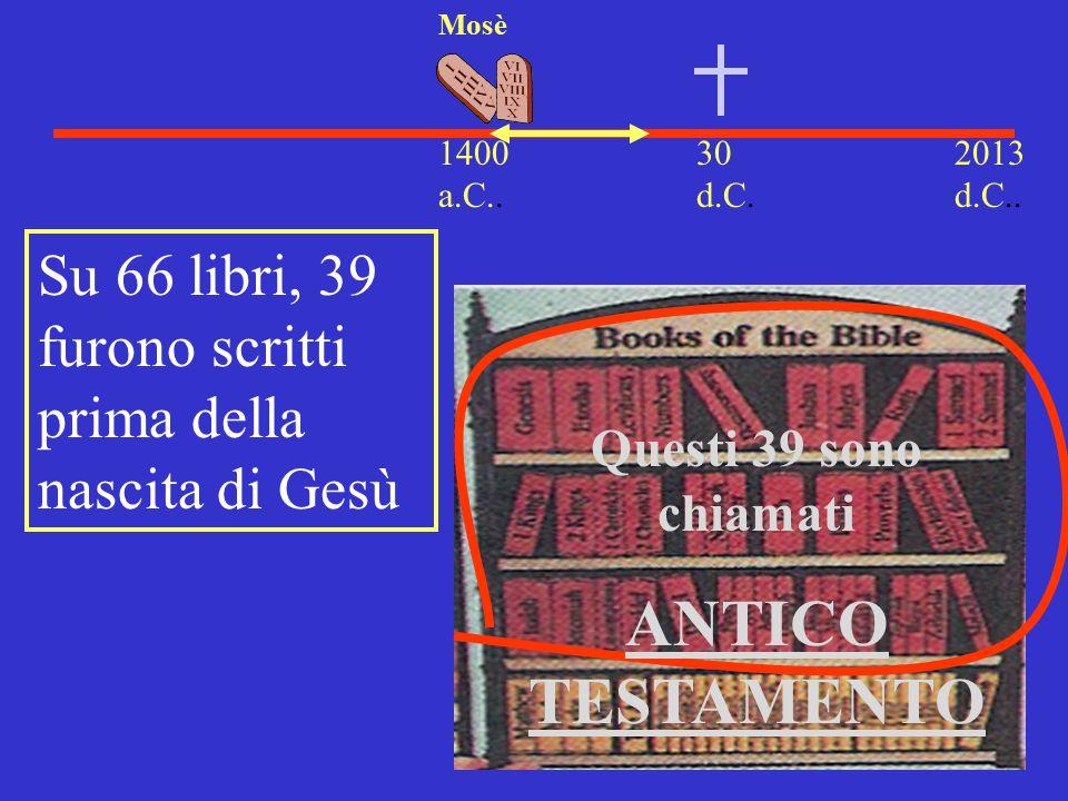 30 d.C. 2013 d.C.. 1400 a.C.. Mosè Su 66 libri, 39 furono scritti prima della nascita di Gesù Questi 39 sono chiamati ANTICO TESTAMENTO