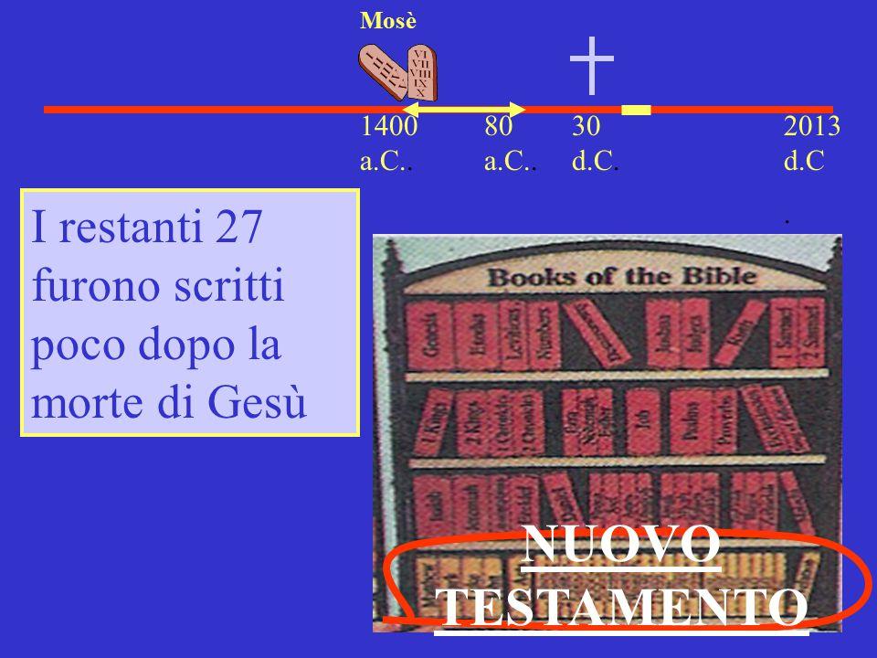 30 d.C. 2013 d.C. 1400 a.C.. Mosè I restanti 27 furono scritti poco dopo la morte di Gesù NUOVO TESTAMENTO 80 a.C..