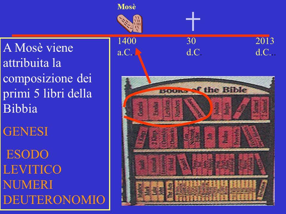 30 d.C. 2013 d.C... 1400 a.C.. Mosè A Mosè viene attribuita la composizione dei primi 5 libri della Bibbia GENESI ESODO LEVITICO NUMERI DEUTERONOMIO