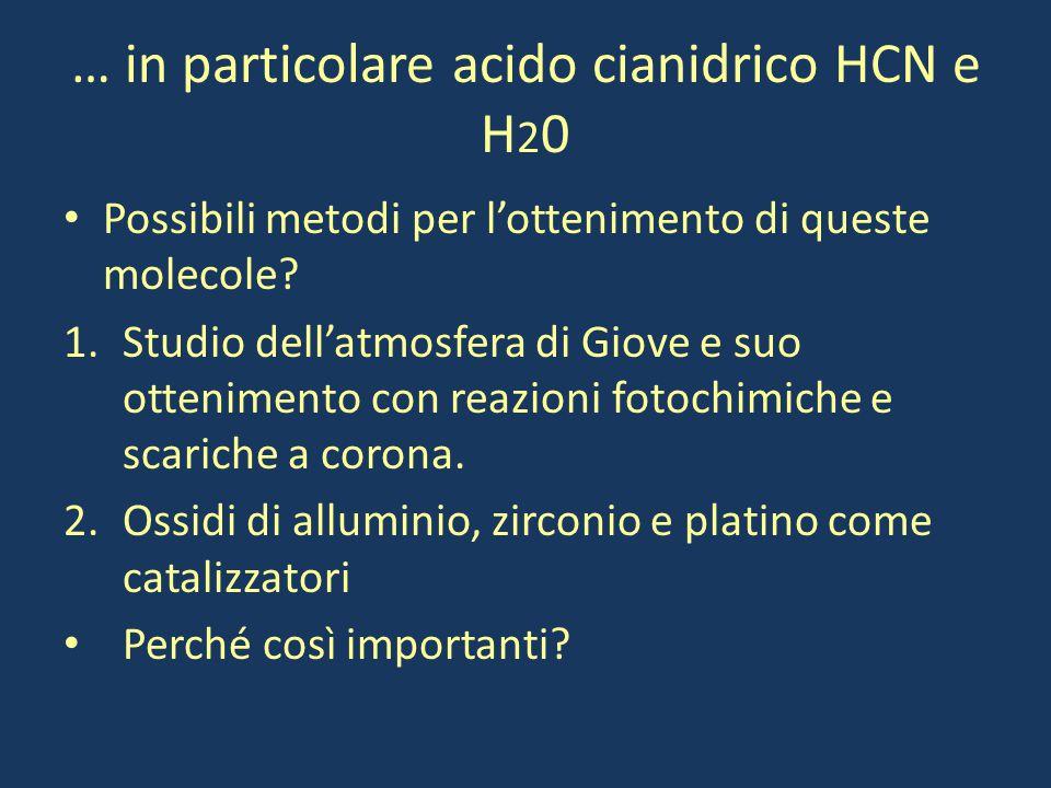 … in particolare acido cianidrico HCN e H 2 0 Possibili metodi per l'ottenimento di queste molecole? 1.Studio dell'atmosfera di Giove e suo otteniment
