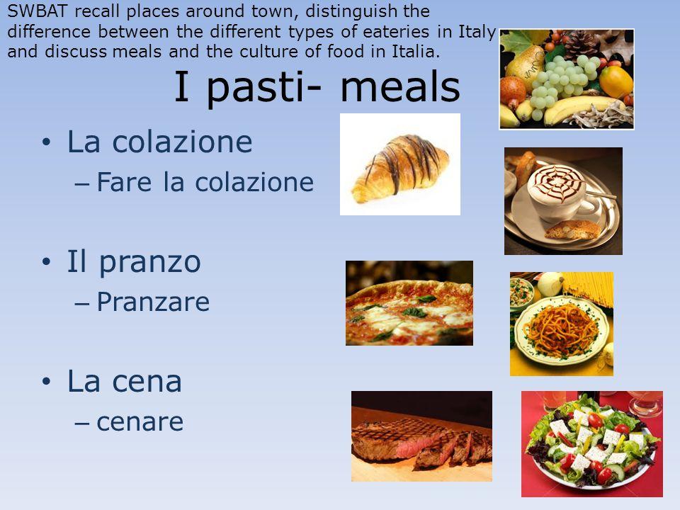 I pasti- meals La colazione – Fare la colazione Il pranzo – Pranzare La cena – cenare SWBAT recall places around town, distinguish the difference betw