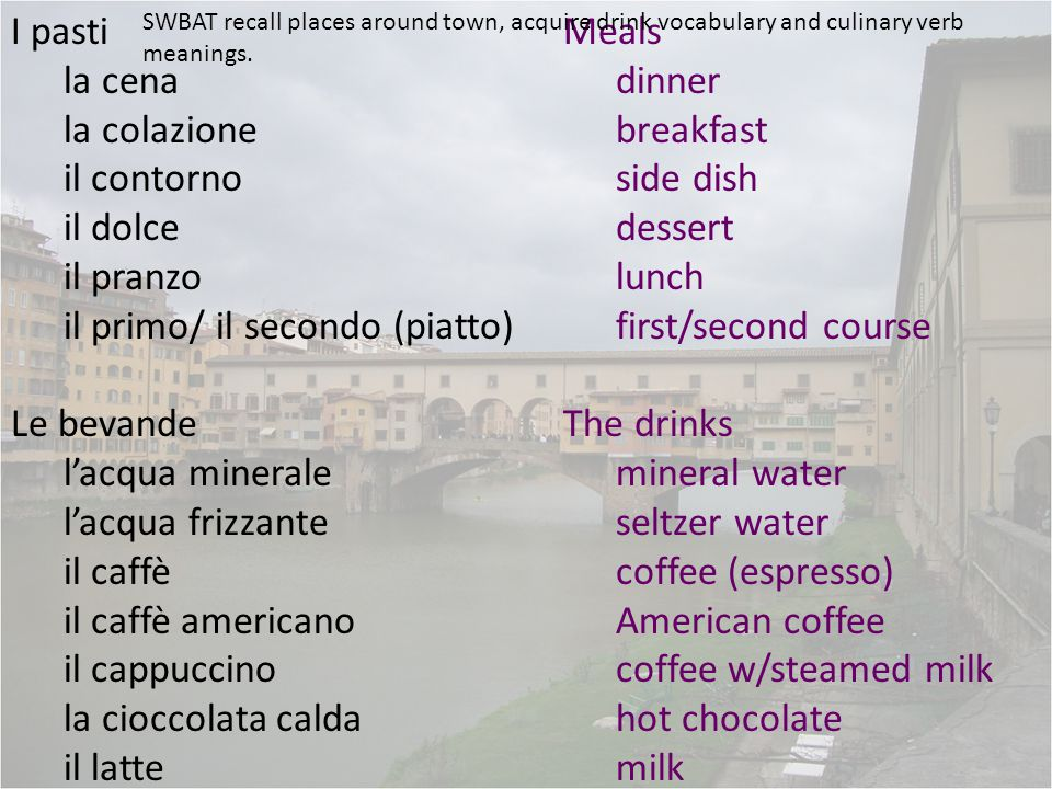 I pasti la cena la colazione il contorno il dolce il pranzo il primo/ il secondo (piatto) Le bevande l'acqua minerale l'acqua frizzante il caffè il caffè americano il cappuccino la cioccolata calda il latte Meals dinner breakfast side dish dessert lunch first/second course The drinks mineral water seltzer water coffee (espresso) American coffee coffee w/steamed milk hot chocolate milk SWBAT recall places around town, acquire drink vocabulary and culinary verb meanings.