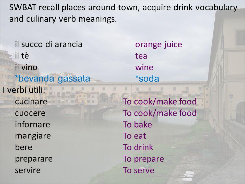 il succo di arancia il tè il vino *bevanda gassata I verbi utili: cucinare cuocere infornare mangiare bere preparare servire orange juice tea wine *so