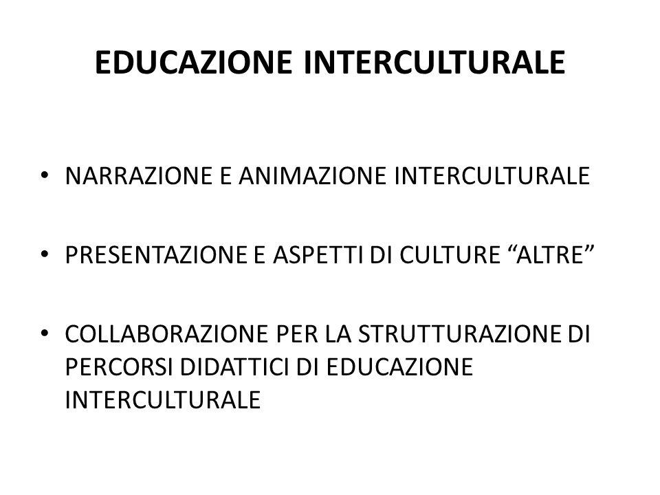 EDUCAZIONE INTERCULTURALE NARRAZIONE E ANIMAZIONE INTERCULTURALE PRESENTAZIONE E ASPETTI DI CULTURE ALTRE COLLABORAZIONE PER LA STRUTTURAZIONE DI PERCORSI DIDATTICI DI EDUCAZIONE INTERCULTURALE