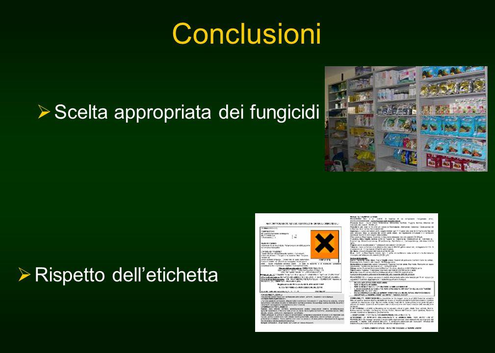Conclusioni  Scelta appropriata dei fungicidi  Rispetto dell'etichetta