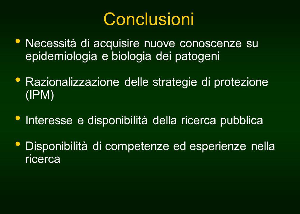 Conclusioni Necessità di acquisire nuove conoscenze su epidemiologia e biologia dei patogeni Razionalizzazione delle strategie di protezione (IPM) Interesse e disponibilità della ricerca pubblica Disponibilità di competenze ed esperienze nella ricerca