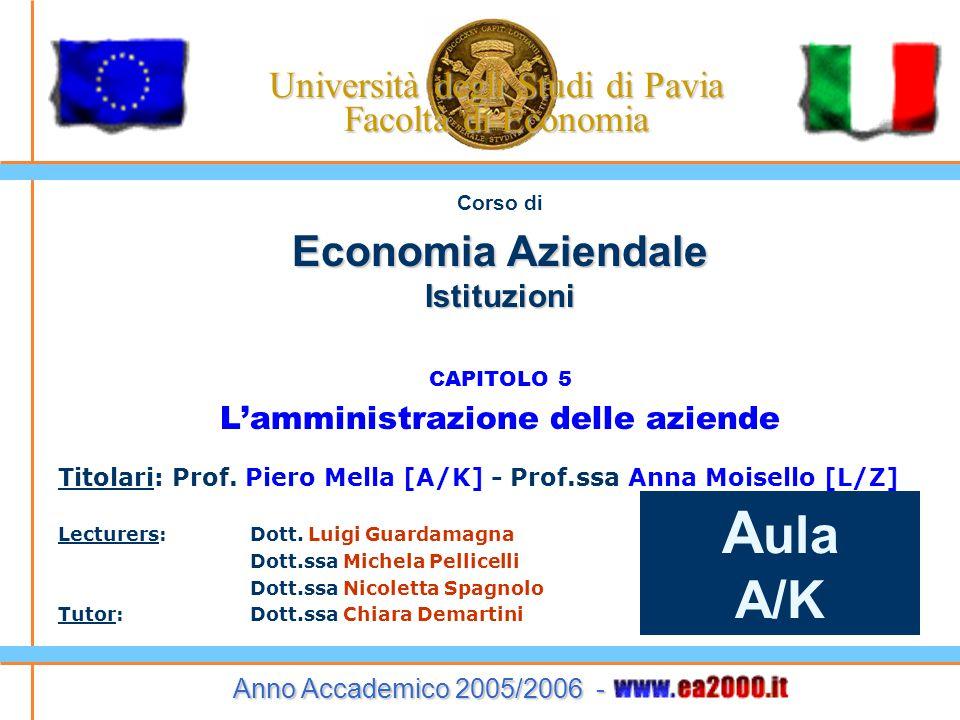 Corso di Economia Aziendale Istituzioni CAPITOLO 5 L'amministrazione delle aziende Titolari: Prof. Piero Mella [A/K] - Prof.ssa Anna Moisello [L/Z] Le