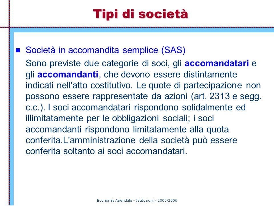 Economia Aziendale – Istituzioni – 2005/2006 Tipi di società Società in accomandita semplice (SAS) Sono previste due categorie di soci, gli accomandat