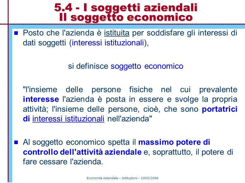 Economia Aziendale – Istituzioni – 2005/2006 5.4 - I soggetti aziendali Il soggetto economico Posto che l'azienda è istituita per soddisfare gli inter