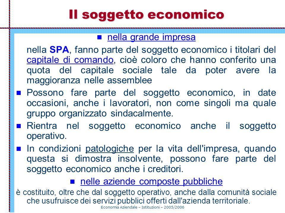 Economia Aziendale – Istituzioni – 2005/2006 Il soggetto economico nella grande impresa nella SPA, fanno parte del soggetto economico i titolari del c