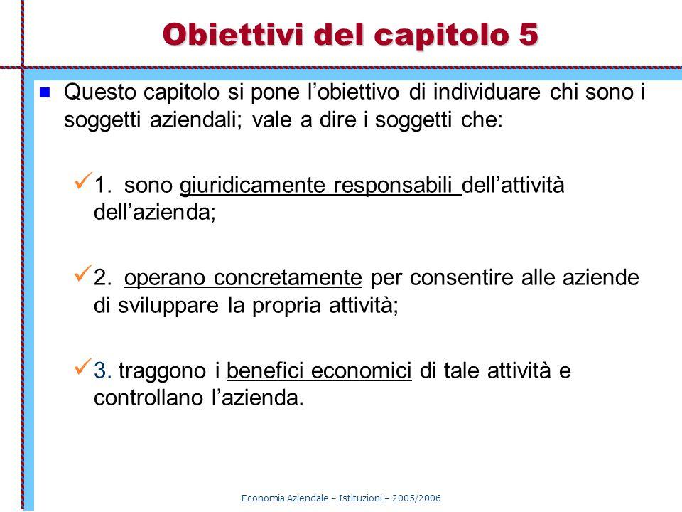 Economia Aziendale – Istituzioni – 2005/2006 Obiettivi del capitolo 5 Questo capitolo si pone l'obiettivo di individuare chi sono i soggetti aziendali