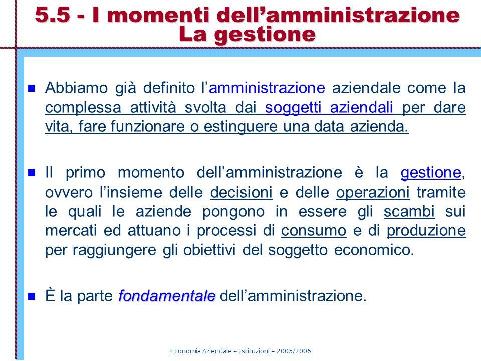 Economia Aziendale – Istituzioni – 2005/2006 5.5 - I momenti dell'amministrazione La gestione Abbiamo già definito l'amministrazione aziendale come la