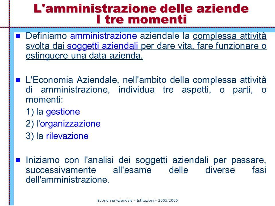 Economia Aziendale – Istituzioni – 2005/2006 L'amministrazione delle aziende I tre momenti Definiamo amministrazione aziendale la complessa attività s