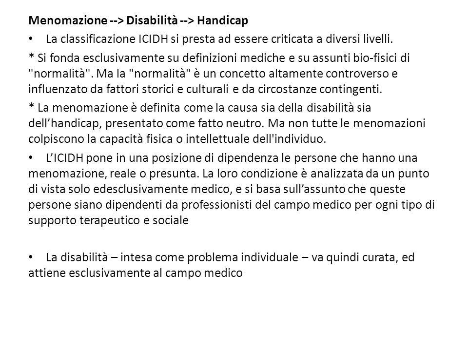 Menomazione --> Disabilità --> Handicap La classificazione ICIDH si presta ad essere criticata a diversi livelli. * Si fonda esclusivamente su definiz