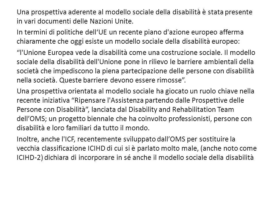 Una prospettiva aderente al modello sociale della disabilità è stata presente in vari documenti delle Nazioni Unite. In termini di politiche dell'UE u