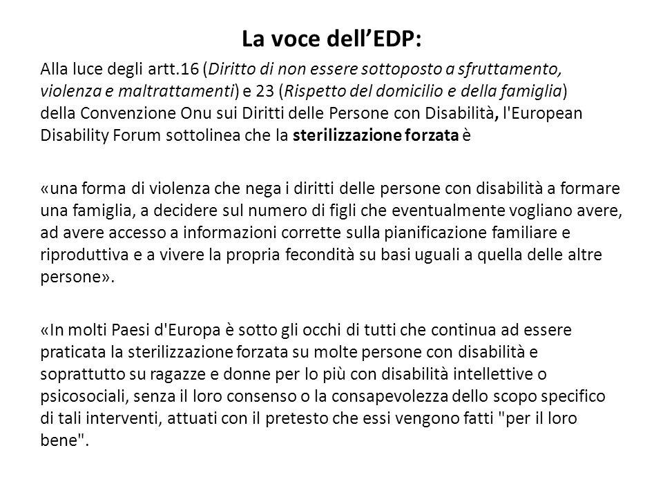 La voce dell'EDP: Alla luce degli artt.16 (Diritto di non essere sottoposto a sfruttamento, violenza e maltrattamenti) e 23 (Rispetto del domicilio e