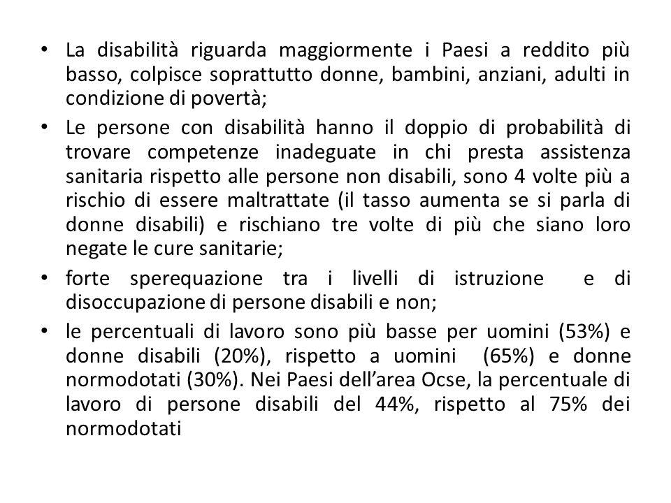 Numeri in Italia Le persone con gravi forme di disabilità sono circa 3 milioni; se consideriamo anche forme di invalidità più lievi arriviamo a 6 milioni di persone, oltre il 10% degli italiani.