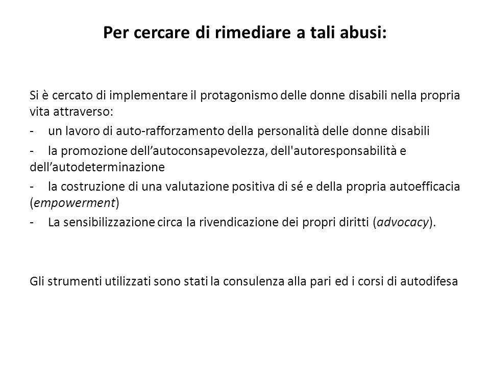 Per cercare di rimediare a tali abusi: Si è cercato di implementare il protagonismo delle donne disabili nella propria vita attraverso: -un lavoro di