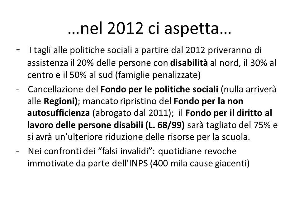 …nel 2012 ci aspetta… - I tagli alle politiche sociali a partire dal 2012 priveranno di assistenza il 20% delle persone con disabilità al nord, il 30%