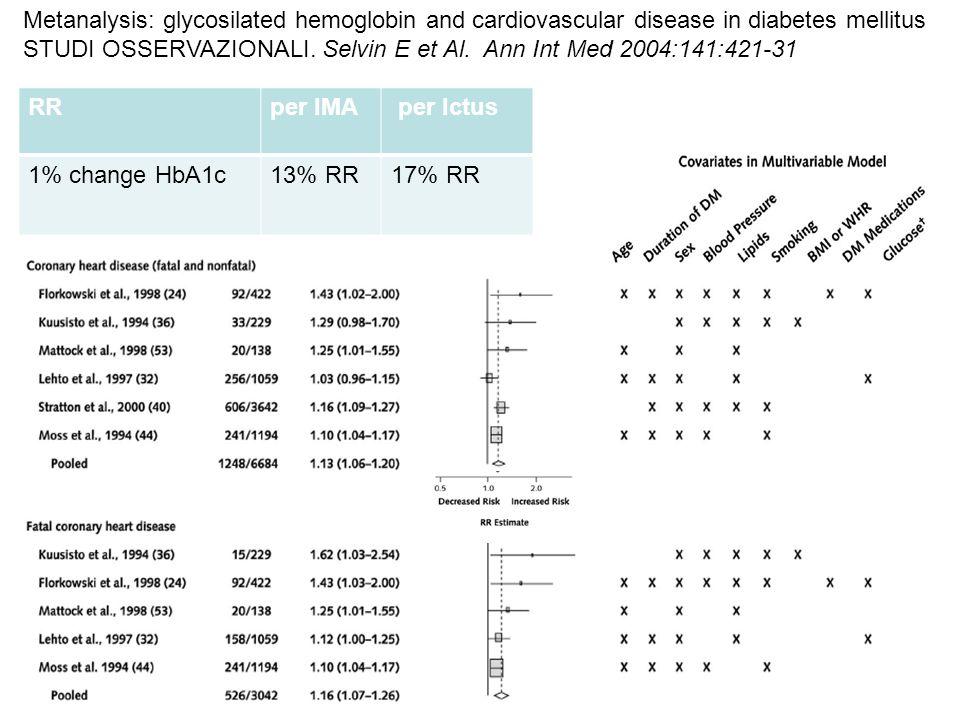 Metanalysis: glycosilated hemoglobin and cardiovascular disease in diabetes mellitus STUDI OSSERVAZIONALI.