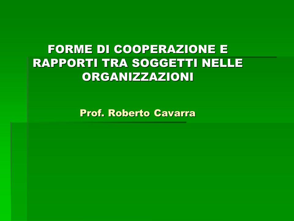 Forme di Cooperazione sintesi  Cooperazione fondata da motivi razionali egoistici orientati ai risultati  Cooperazione da incentivi positivi e negativi  Cooperazione volontaria fondata da motivi razionali egoistici orientati ai risultati  Cooperazione fondata da motivi razionali egoistici orientati al processo  Cooperazione fondata da motivi razionali non egoistici orientati al risultato
