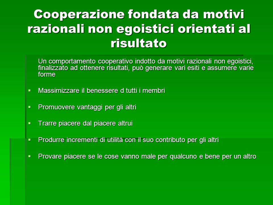 Cooperazione fondata da motivi razionali non egoistici orientati al risultato Un comportamento cooperativo indotto da motivi razionali non egoistici,