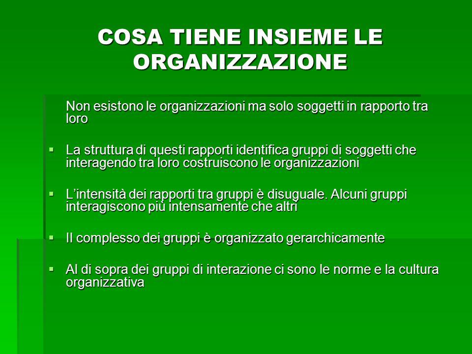 COSA TIENE INSIEME LE ORGANIZZAZIONE Non esistono le organizzazioni ma solo soggetti in rapporto tra loro  La struttura di questi rapporti identifica