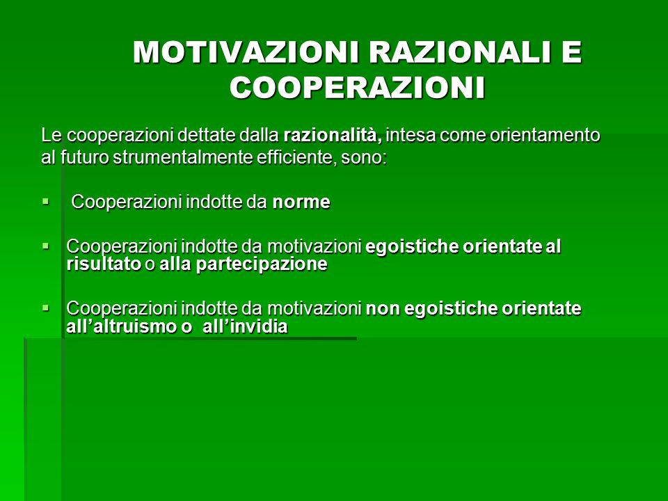 MOTIVAZIONI RAZIONALI E COOPERAZIONI Le cooperazioni dettate dalla razionalità, intesa come orientamento al futuro strumentalmente efficiente, sono: 