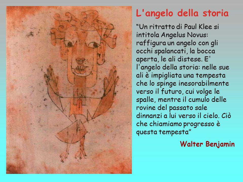 L angelo della storia Un ritratto di Paul Klee si intitola Angelus Novus: raffigura un angelo con gli occhi spalancati, la bocca aperta, le ali distese.