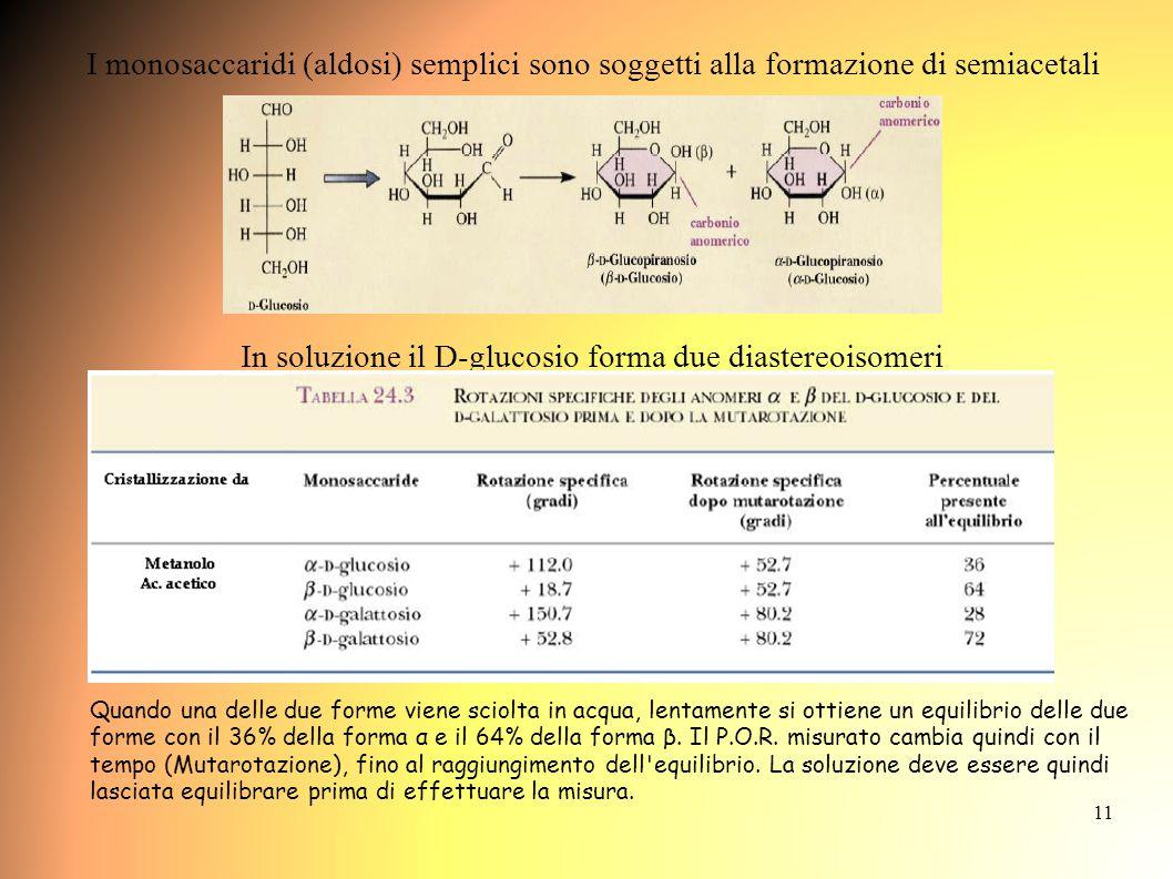 11 I monosaccaridi (aldosi) semplici sono soggetti alla formazione di semiacetali In soluzione il D-glucosio forma due diastereoisomeri Quando una delle due forme viene sciolta in acqua, lentamente si ottiene un equilibrio delle due forme con il 36% della forma α e il 64% della forma β.