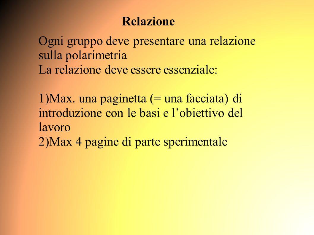 Relazione Ogni gruppo deve presentare una relazione sulla polarimetria La relazione deve essere essenziale: 1)Max.