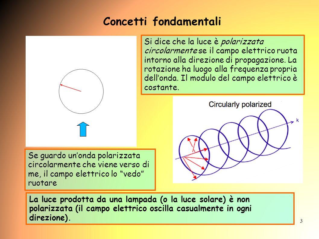 3 Si dice che la luce è polarizzata circolarmente se il campo elettrico ruota intorno alla direzione di propagazione.