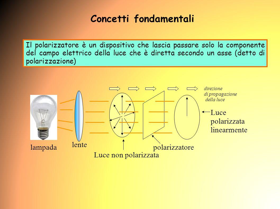 Il polarizzatore è un dispositivo che lascia passare solo la componente del campo elettrico della luce che è diretta secondo un asse (detto di polarizzazione) polarizzatore direzione di propagazione della luce Luce non polarizzata Luce polarizzata linearmente lente lampada Concetti fondamentali