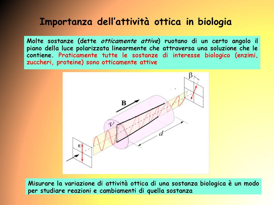 7 Molte sostanze (dette otticamente attive) ruotano di un certo angolo il piano della luce polarizzata linearmente che attraversa una soluzione che le contiene.