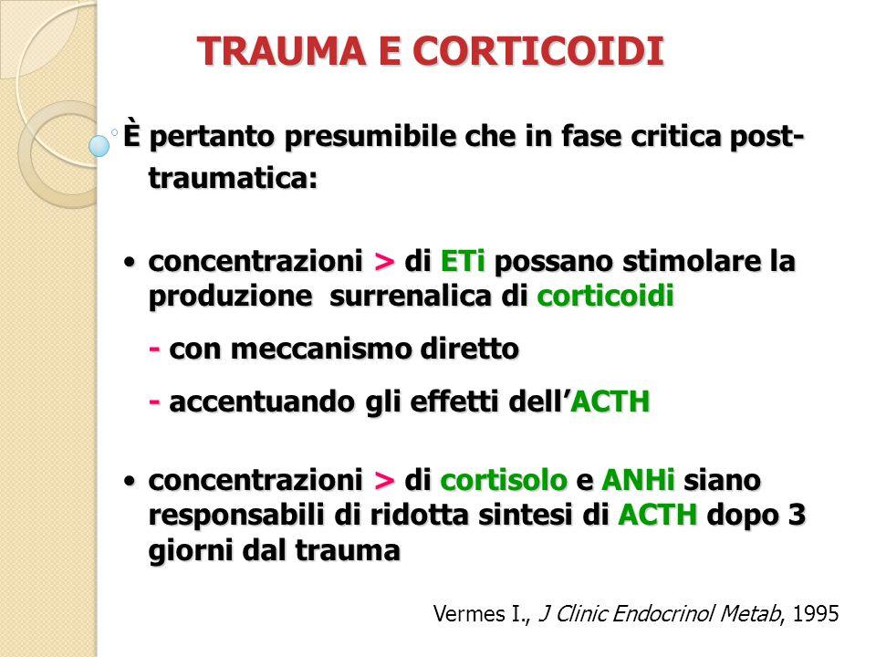 TRAUMA E CORTICOIDI È pertanto presumibile che in fase critica post- traumatica: concentrazioni > di ETi possano stimolare la produzione surrenalica di corticoidiconcentrazioni > di ETi possano stimolare la produzione surrenalica di corticoidi - con meccanismo diretto - accentuando gli effetti dell'ACTH concentrazioni > di cortisolo e ANHi siano responsabili di ridotta sintesi di ACTH dopo 3 giorni dal traumaconcentrazioni > di cortisolo e ANHi siano responsabili di ridotta sintesi di ACTH dopo 3 giorni dal trauma Vermes I., J Clinic Endocrinol Metab, 1995