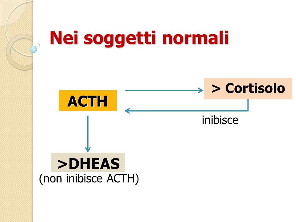 ACTH Nei soggetti normali > Cortisolo >DHEAS inibisce (non inibisce ACTH)